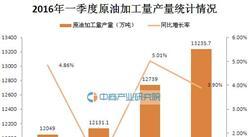 2016年一季度中国原油加工量产量统计分析
