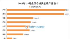 2016年1-5月全国合成洗衣粉产量TOP10:广东夺冠