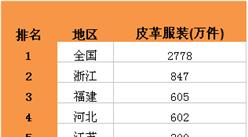 2016年1-5月全國皮革服裝產量TOP10