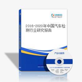 2016-2020年中国汽车检测行业研究报告