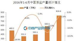 2016年6月中國原鹽產量826.6萬噸 同比下降2.6%