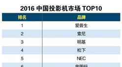 2016中国投影机市场排行榜 TOP10:爱普生居榜首
