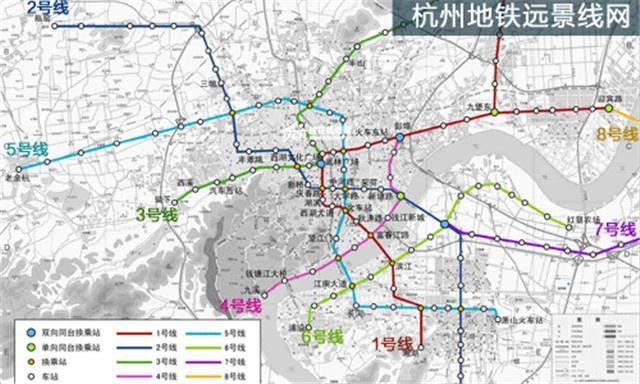杭州未来地铁规划布局图(图片来源网络)-未来10条线路将覆盖9个城