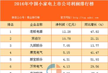 2016年中国小家电上市公司利润排行榜
