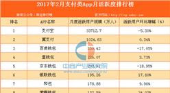2017年2月支付类App月活跃度排行榜