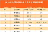 2016年中国造纸行业上市公司利润排行榜