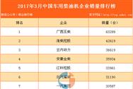 2017年3月中国车用柴油机企业销量排行榜