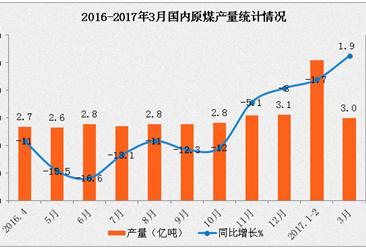 2017年一季度國內能源生產情況分析:原煤產量增長由負轉正