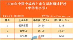 2016年中国中成药上市公司利润排行榜