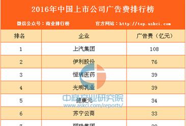 2016年中国上市公司广告费用排行榜(TOP10)