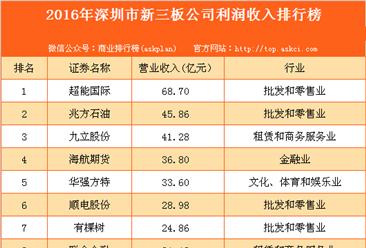 2016年深圳市新三板公司收入百强排行榜