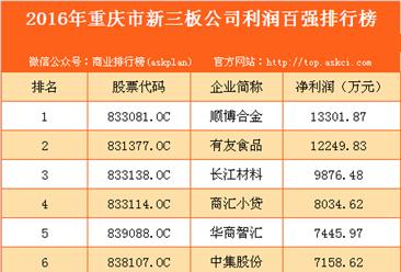 2016年重庆市新三板企业利润百强排行榜