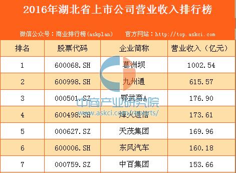 2016年湖北上市公司营业收入排行榜