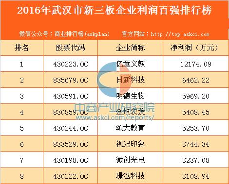 2016年武汉市新三板企业利润百强排行榜
