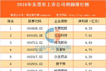2016年东莞市上市公司利润排行榜