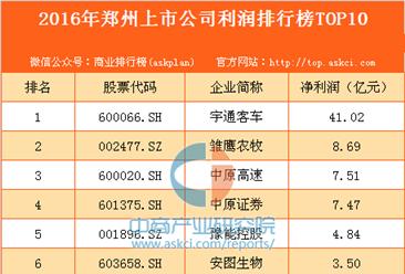 2016年郑州上市公司利润排行榜TOP10