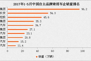 2017年1-5月中国自主品牌乘用车企业销量排名分析