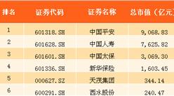 2017年上半年中国保险行业上市公司市值排行榜(TOP6)