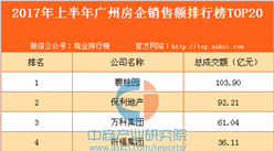 2017年上半年广州房企销售额排行榜TOP20