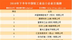 2016年下半年中國輕工業出口企業排行榜(TOP100)