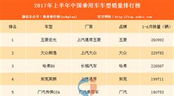 2017年上半年中国乘用车畅销车型销量排行榜(TOP400)