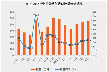 2017年1-6月中国天然气进口数据分析:进口金额同比增长20.4%