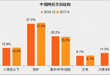 2017年上半年中国互联网网民结构分析:网民性别结构趋向均衡