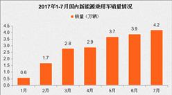 2017年7月國內新能源乘用車銷量4.2萬輛