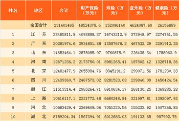 2017年1-6月各省市保险行业大数据分析:广东更关心意外险
