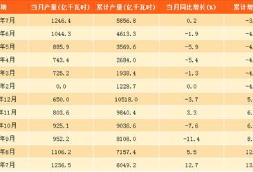 2017年7月中國水力發電量1246.4億千瓦時:同比微增0.2%
