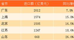 2017年1-7月主要省份进口额排行榜TOP5:广东进口额破2千亿美元