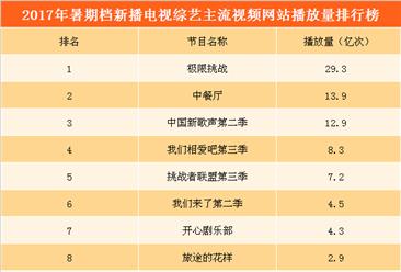 2017年暑期档新播电视综艺播放量排行榜:《极限挑战》夺冠  《中餐厅》第二
