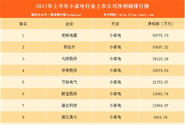 2017上半年小家电上市公司净利润排名:老板电器最赚钱!