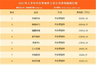 2017上半年汽车零部件上市公司净利润排名:华域汽车第一