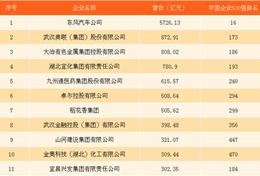 2017中国企业500强排行榜(湖北全名单):巨无霸武钢退出榜单