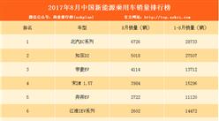 2017年8月新能源乘用车销量排名:北汽EC重回第一 帝豪EV增长明显(附排名)