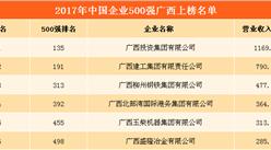 2017中国企业500强排行榜(广西上榜企业名单)