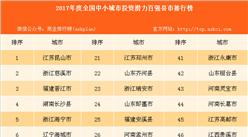 2017年度全国中小城市投资潜力百强县市排行榜(附榜单)