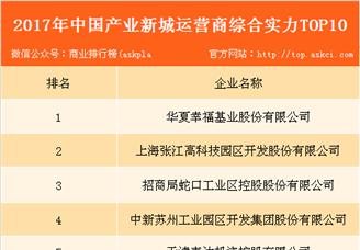 2017年中国产业新城运营商综合实力排行榜(TOP10)