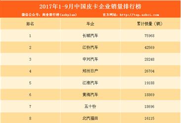 2017年1-9月皮卡企业销量排行榜:长城汽车第一(附排名)