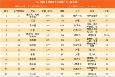 2017胡润先进制造企业家排行榜(深圳篇):大疆竟然有3人上榜(附图表)