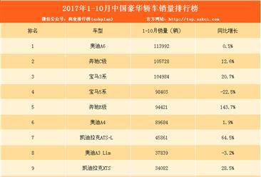 2017年1-10月中国豪华轿车销量排行榜(TOP10)