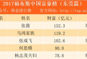 2017東莞富豪排行榜:玖龍紙業張茵排名第一(附榜單)