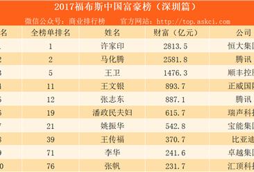 2017福布斯中国富豪榜(深圳篇):许家印第一 王卫第三