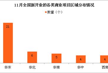11月中国新开业的各类商业项目情况分析:华东一家独大 项目占总数的45%(图表)