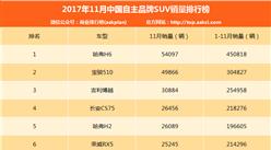 2017年11月自主品牌SUV销量排行榜(附完整排名TOP120)