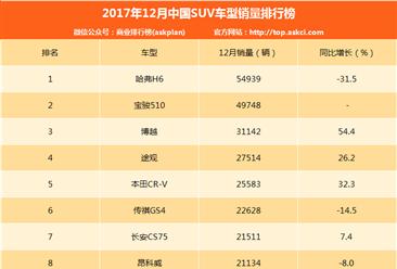 2017年12月SUV销量排名:哈弗H6/宝骏510/博越前三 多款销量下滑(附榜单TOP15)