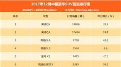 2017年12月豪華SUV銷量排名:BBA包攬前五 奧迪Q5第一(附排名)