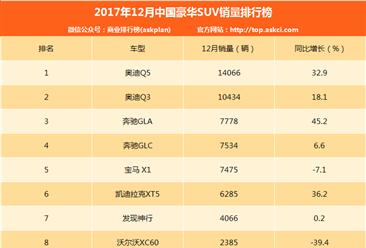 2017年12月豪华SUV销量排名:BBA包揽前五 奥迪Q5第一(附排名)
