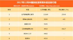 2017年12月新能源乘用车销量排名:北汽EC稳居第一 销量飙涨219%(附排名TOP10)